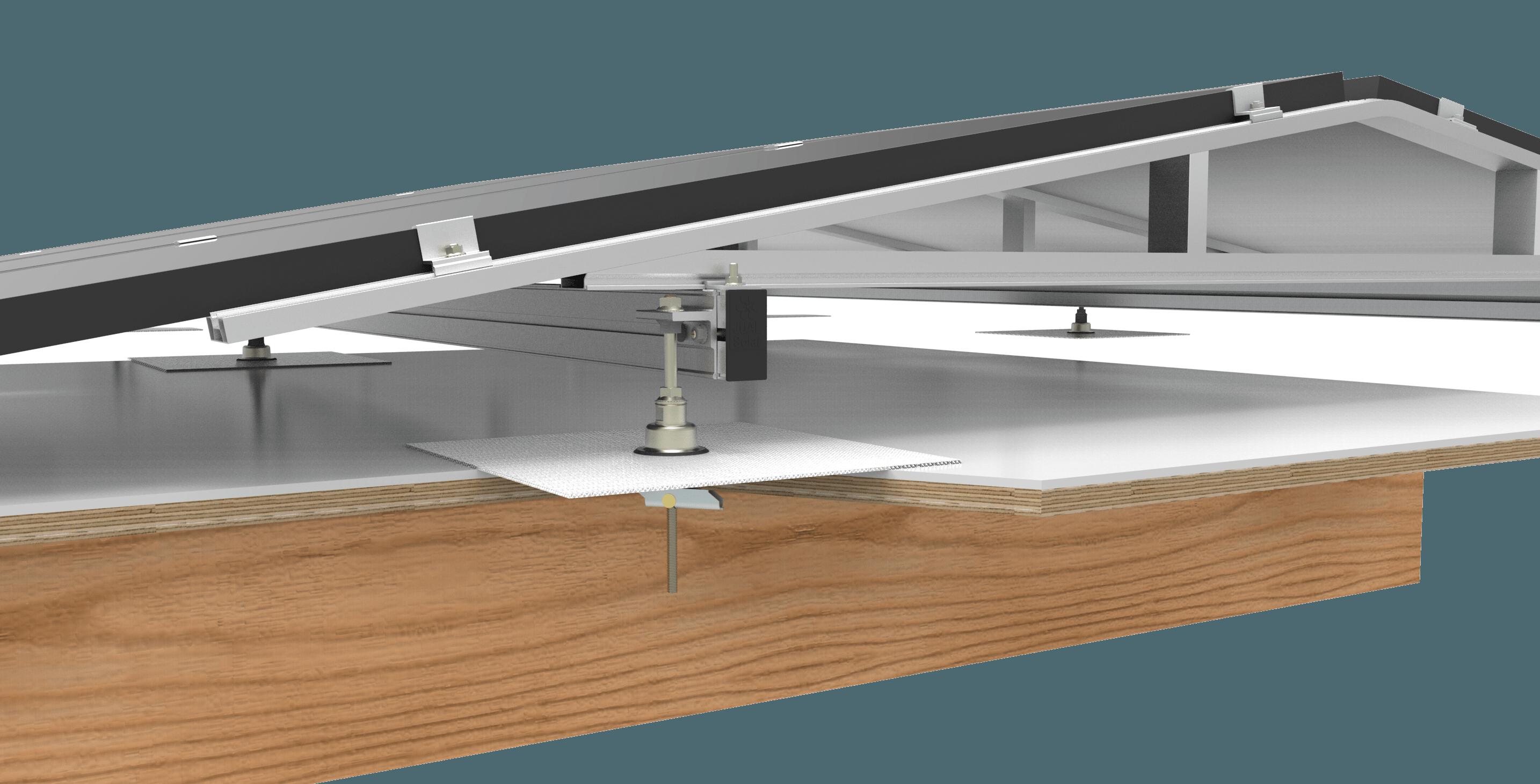 Ballastvrij montagesysteem voor zonnepanelen warmtepomp collector