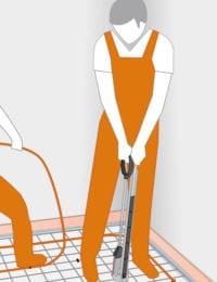 Draadstaalmatten / krimpnet vloerverwarming installeren