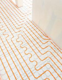 Variokomp droogbouw vloerverwarming slakkenhuis patroon