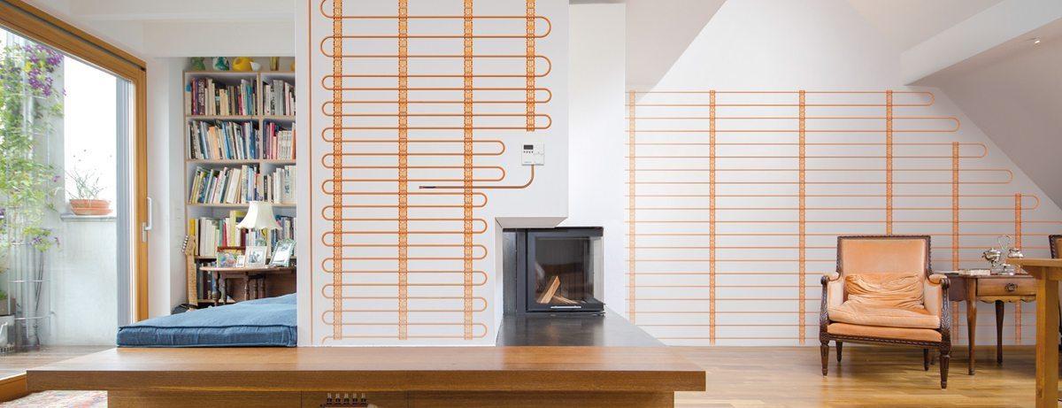 Muurverwarming geschikt voor leem of stuc-afwerking