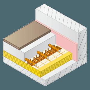 Vloerverwarming kunststof rails