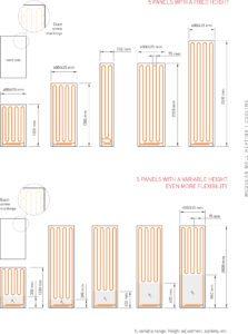 Afmetingen wandverwarming panelen