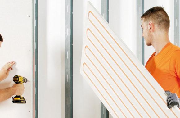 Wandverwarming panelen op houten of metalstud wand