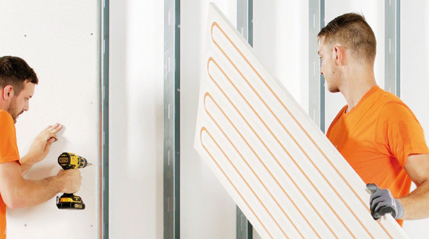 Wandverwarming panelen op houten regelwerk of metalstud wand