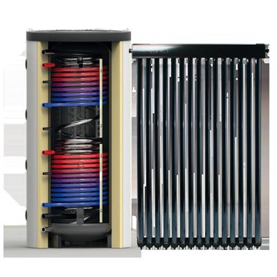 Zonneboiler systeem combi met buffer en heatpipe collector