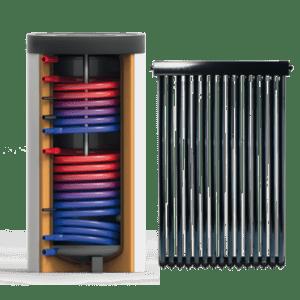 Zonneboilerset met tapwaterboiler en heatpipe zonnecollector