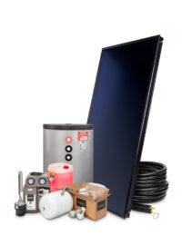 Zonneboilerset 150 liter met vlakke plaat zonnecollector