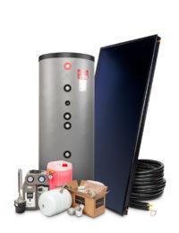 Zonneboilerset 300 liter met vlakke plaat zonnecollector