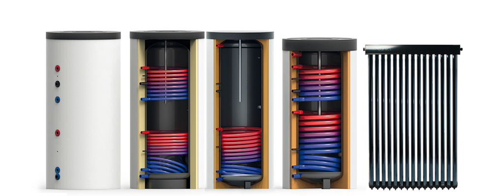 Zonneboiler set: Tapwaterboiler met vlakke plaat collector