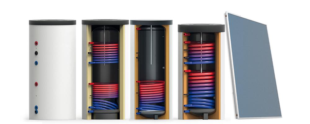 Zonneboiler Combi systeem met tapwaterboiler en vlakke plaat collector Thermic