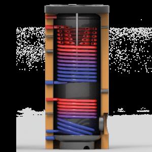 Tapwater boiler voor warmtepomp met twee warmtewisselaars - Doorsnede - Technea